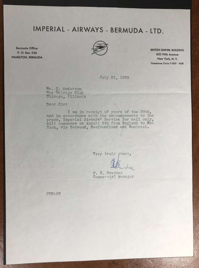 (Bermuda) Scarce letter from the Commercial Manager written on official 'Imperial Airways Bermuda Ltd' headed notepaper.