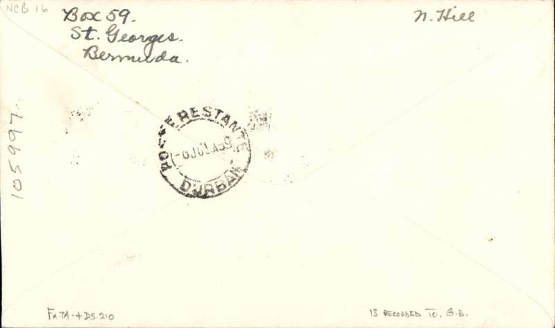 "(Bermuda) POSSIBLY THE ONLY BERMUDA FIRST ACCEPTANCE FOR SOUTH AFRICA, bs Durban 6 Jul 39, via Southampton (28/6), for carriage on the PAN AMERICAN NORTHERN ROUTE. Airmail cover addressed to the eminent aerophilatelist JHC Godfrey, franked 2/- Bermuda stamps canc St George's/24 Jun 39,  ms ""P.A.Airways/Northern Route"". At Southampton transferred to Imperial Airways Africa Southbound service DS 210 and carried to W. Halfa by Cariolanus and on to Durban by Cassiopeia, see Wingent p173. Ms verso '13 recorded' to GB'. Not listed in W.J. Clarke 1990. This is the first acceptance for South Africa via the Northern Service we have seen in 20 years and believe it could possibly be the only one, but this will need verification by an expert.."