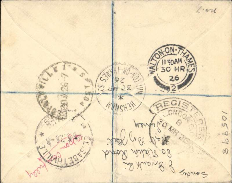 ('Alex Newall covers selected for his personal collection and  with descriptions taken from his original sheets) Imperial Airways - CGEA (Lignes Latecoere), first dispatch LONDON - TOULOUSE - DAKAR - Leopoldsville - ELISABETHVILLE, overseas rate 2 1/2d; air to Dakar 8d; regisration 3d; total 13 1/2d; No extra for B. Congo. Ref # 26.05b, A.S. Newall, British External Airmails until 1934 (2nd Ed), pub 1996.This actual cover is illustrated on p73.