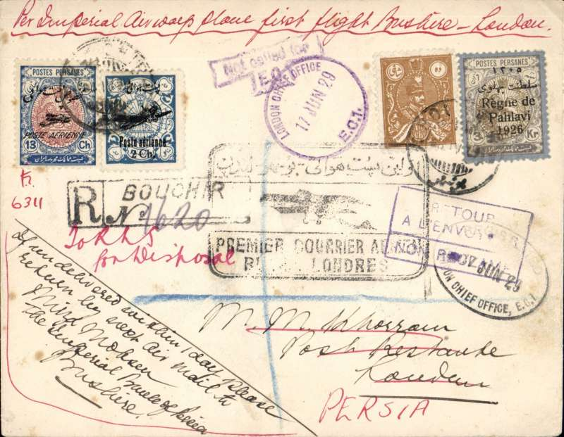 ('Alex Newall covers selected for his personal collection and  with descriptions taken from his original sheets) Imperial Airways first flight from India, intermediate mail from Persia flown to London in 9 days, returned to Bushire in four weeks, BUSHIRE (8.4.29) - LONDON (14.4.29) - Bushire (10.7.29). Ref # 29.05Ah4 , A. S. Newall, British External Airmails until 1934 (2nd Ed), pub 1996. Envelope has 'Mirza Mohamed Jawad' embossed on flap.