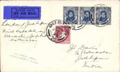 (Alex Newall personal collection) Irish 'feeder' mail on the  first flight on the the extension: (London, Karachi) - JOHDPUR, bs 6.1.30, Imperial Airways plane on charter to the Indian Government, Irish overseas rate 2 1/2d; British overseas rate 2 1/2d; London - India air fee 5d; Correctly rated 10d.  Ref # 29.32c1, A.S. Newall, British External Airmails until 1934 (2nd Ed), pub 1996.