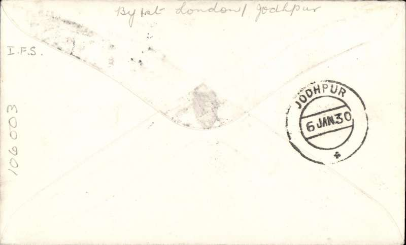 ('Alex Newall covers selected for his personal collection and  with descriptions taken from hiection and  with descriptions taken from his original sheetsal sheetss original sheets) Irish 'feeder' mail on the  first flight on the the extension: (London, Karachi) - JOHDPUR, bs 6.1.30, Imperial Airways plane on charter to the Indian Government, Irish overseas rate 2 1/2d; British overseas rate 2 1/2d; London - India air fee 5d; Correctly rated 10d.  Ref # 29.32c1, A.S. Newall, British External Airmails until 1934 (2nd Ed), pub 1996.
