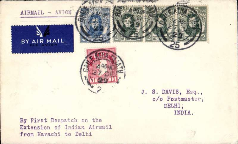 ('Alex Newall covers selected for his personal collection and  with descriptions taken from his original sheets) Irish 'feeder' mail on the  first flight on the the extension: (London, Karachi) - Johdpur - DELHI bs 7.1.30, Imperial Airways plane on charter to the Indian Government, Irish overseas rate 2 1/2d; British overseas rate 2 1/2d; London - India air fee 5d; Correctly rated 10d.  Ref # 29.32c1, A.S. Newall, British External Airmails until 1934 (2nd Ed), pub 1996.