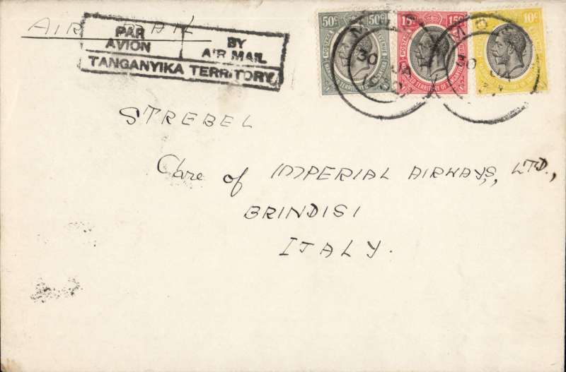 ('Alex Newall covers selected for his personal collection and  with descriptions taken from his original sheets) Tanganyika to Italy, MOSHI TO BRINDISI, bs 14/2, feeder service of the Tanganyika Government for the Imperial Airways first return service from Cape Town AN 48, by City of Baghdad to Kisumu 8/2, by City of Swanage to Khartoum 10/2, by City of Arundel to Cairo, by train to Alexandria and by Sylvanus to Brindisi. Correctly rate 75c from KUT to Europe.