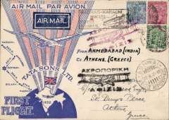 (Alex Newall personal collection) TATA Airways (Flown by their Chief Pilot N. Vetch), Madras-Ahmedabad-Karachi; IMPERIAL AW Karachi -Cairo-Athens. Tata & Sons pen the route Madras-Karachi, and Imperial Airways take the mails over at Karachi. Ref # 32.23Ad , A. S. Newall, British External Airmails until 1934 (2nd Ed), pub 1996. The rarest mails on this flight are to and from Ahmedabad, see pp 155 and 339.