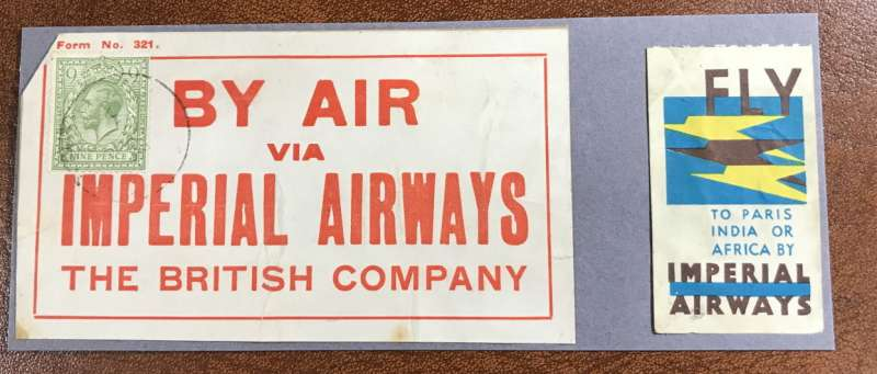 (Ephemera) Rare Imperial Airways luggage label, and airmail etiquette. Ex Alex Newall personal collection.