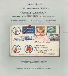 (Alex Newall personal collection) Imperial Airways First Service Between South Africa and Australia. F/F South Africa to England, CAPE TOWN - LONDON on services AN 47/48. Flight left on January 27 but forced down at Broken Hill, Northern Rhodesia, delayed 7 days arriving Croydon February 16  with second dispatch. Flight by air terminated at London with application of red double bar Jusqu'a. Onwards by sea to Freemantle, where transferred to the Australian Perth-Adelaide service, Combination mail - no airmail service all the way. This cover was in Newall's personal collection and described as 'First service between South Africa and Australia' a shown in scan, but is not listed in his book.  Ref # 32.03a, A.S. Newall, British External Airmails until 1934 (2nd Ed), pub 1996.