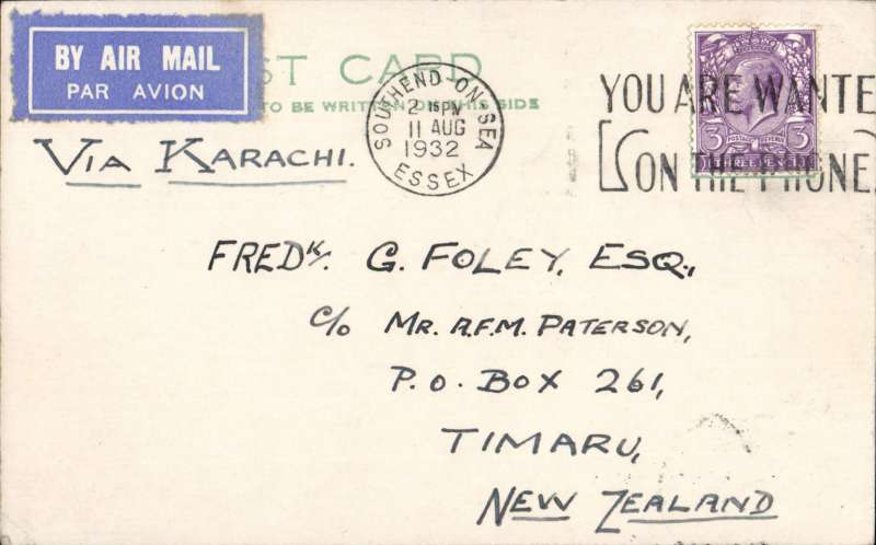 (GB External) GB to NEW ZEALAND, Imperial Airways/West Australian Airways, first British acceptance of reduced airmail PC's for New Zealand. LONDON to TIMARU, bs 16/9. By air, Horatius & Hengist to Brindisi, Satyrus to Cairo and Hannibal to Karachi (via Tiberias), then surface to New Zealand. PC franked 3d, flown on IAW eastbound service IE177 which carried the first dispatch of postcards from GB to India at the new reduced 3d air mail rate.  See Movements of Aircraft on Imperial Airways Eastern Route 1931-1939, Vol 1, P Wingent, pp 79,80, pub 1999. Great item for the exhibit.