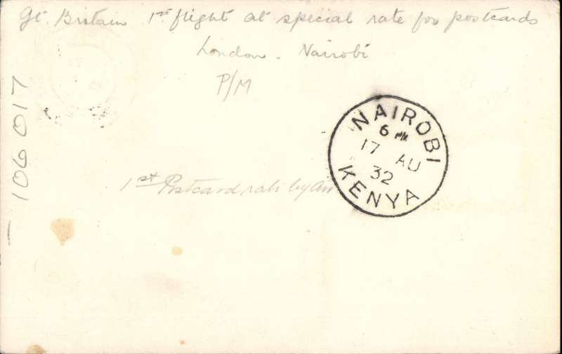 (Scarce and Unusual Routings) A SIGNIFICANT ITEM, London to Nairobi, bs 17/8, PC franked 3d, flown on IAW southbound service AS#76 by flying boat Scipio to W.Halfa, C.Arundel to Khartoum, and C.Stonehaven to Nairobi. This service carried the first dispatch of postcards from GB at reduced air mail rate AND the first mail to connect with Wilson Airways first Nairobi-Dar Coastal Feeder Service. See Movements of Aircraft on Imperial Airways African Route 1931-1939, P Wingent, pub 1991.