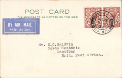 (Scarce and Unusual Routings) A SIGNIFICANT ITEM, London to Zanzibar, bs 18/8, via Nairobi 17/8, PC correctly rated 3d, flown on IAW southbound service AS#76, by flying boat Scipio from Brindisi to W.Halfa, C.Arundel to Khartoum, and C.Stonehaven to Nairobi. This service carried the first dispatch of postcards from GB at reduced air mail rate AND the first mail to connect with Wilson Airways first Nairobi-Dar Coastal Feeder Service. See Movements of Aircraft on Imperial Airways African Route 1931-1939, P Wingent, p28, pub 1991. Francis Field authentication hs verso. Great item for the exhibit.