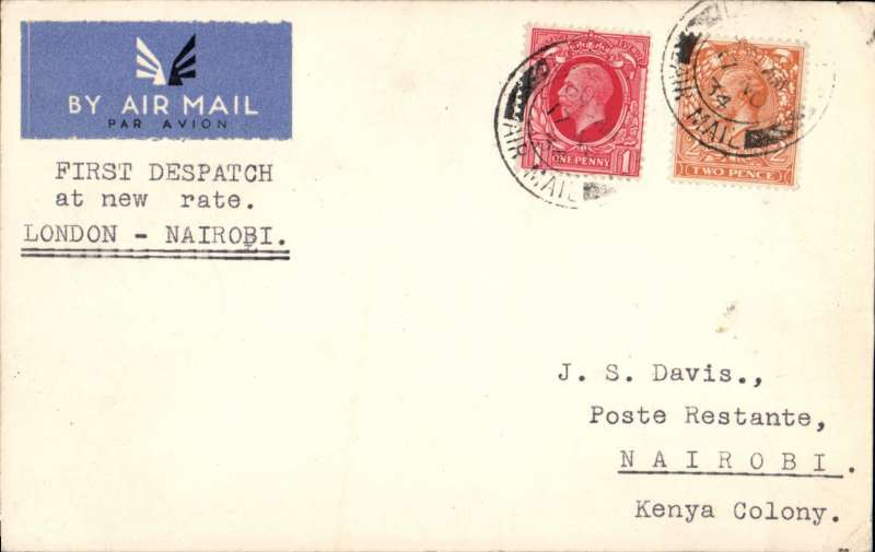 (GB External) LONDON to NAIROBI, bs 27/11, PC correctly rated 3d, flown on IAW southbound service AS#195, by Heracles to Brindisi, flying boat Satyrus to Khartoum, and Horsa to Nairobi. This service carried the first dispatch of postcards from GB at the NEW air mail rate. See Movements of Aircraft on Imperial Airways African Route 1931-1939, P Wingent, p64, pub 1991.