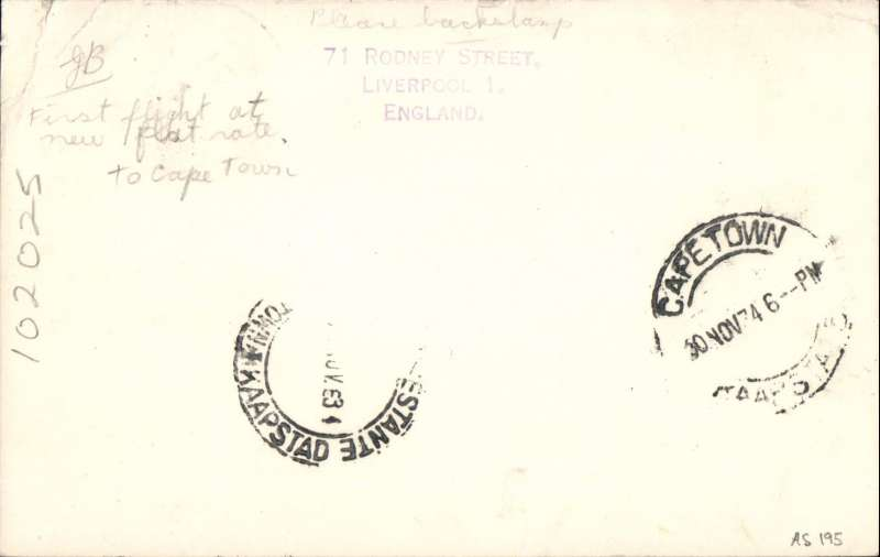 (GB External) First acceptance of mail for South Africa, bs Cape Town 30/1, from London at the new 3d Flat Rate for cards, IAW southbound service #AS195. PC franked 3d, carried Heracles to Brindisi, Satyrus to Khartoum, Horsa to Kisumu, Atlanta to Jo'burg and Amalthea to C. Town. See Movements of Aircraft on Imperial Airways African Route 1931-1939, P Wingent, pub 1991. Faint bend top rh corner, just visible only from the back. See scan.