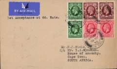 (GB External) First acceptance of mail for South Africa, bs Kimberley 30/1, from London at the new 6d Flat Rate for letters, IAW southbound service #AS195. Etiquette letter to Wyndham franked 6d carried Heracles to Brindisi, Satyrus to Khartoum, Horsa to Kisumu, Atlanta to Jo'burg and Amalthea to C. Town. See Movements of Aircraft on Imperial Airways African Route 1931-1939, P Wingent, pub 1991.