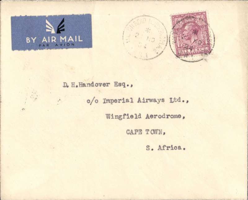 (GB External) First acceptance of mail for South Africa, bs Cape Town 30/1, from London at the new 6d Flat Rate for letters, IAW southbound service #AS195. Airmail etiquette cover franked 6d, carried Heracles to Brindisi, Satyrus to Khartoum, Horsa to Kisumu, Atlanta to Jo'burg and Amalthea to C. Town. See Movements of Aircraft on Imperial Airways African Route 1931-1939, P Wingent, pub 1991.