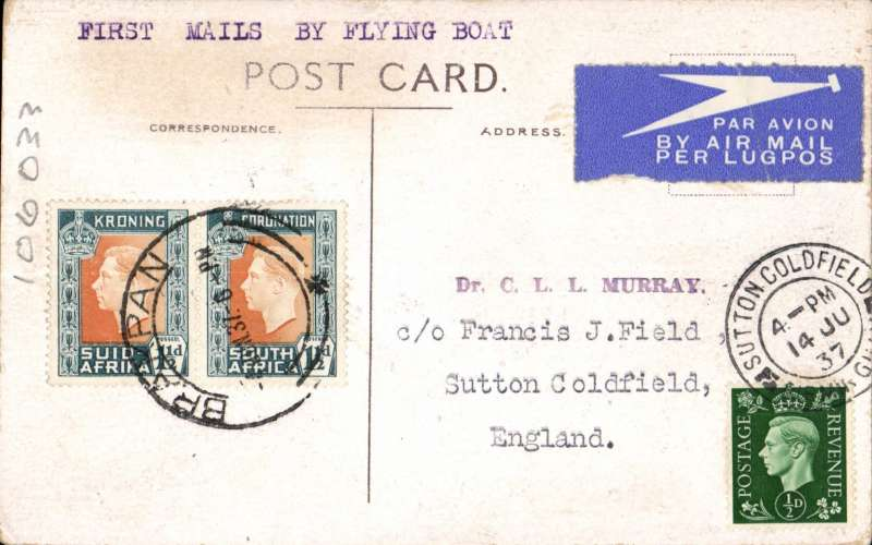 (Flying Boats) South Africa to GB, Imperial Airways, first northbound all flying boat service via coastal route FLOWN ALL THE WAY BY COURTIER, IAW northbound service #453. Brakpan (a mining town in the Gauteng province ) to London, 14/6 arrival ds over stamp on front, PPC franked 3d.