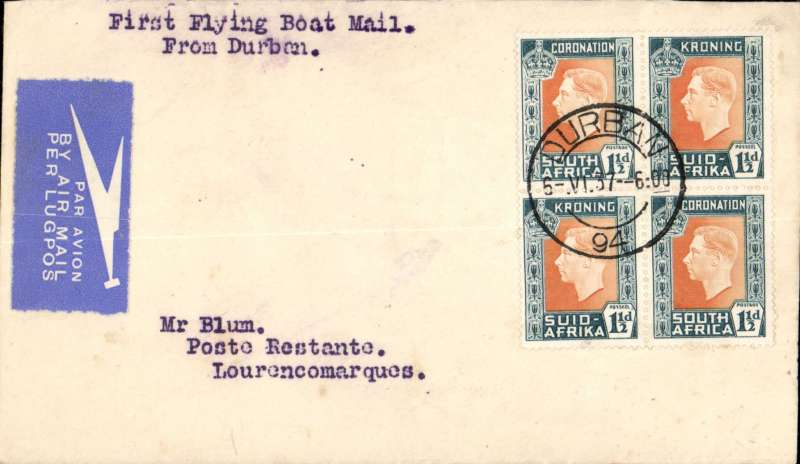 (Flying Boats) Imperial Airways, first northbound all flying boat service AN 453, Durban to Lourenco Marques, bs 7/6, etiquette letter franked 6d, carried by COURTIER.