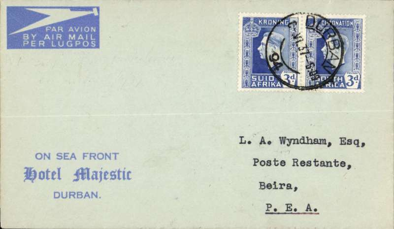 (Flying Boats) Imperial Airways, first northbound all flying boat service AN 453, Durban to Portuguese East Africa, bs Beira 6/6 tying triangular Company de Mocambique 30c. Attractive pale/dark 'Hotel Majestic, Durban'  cover  franked 6d.