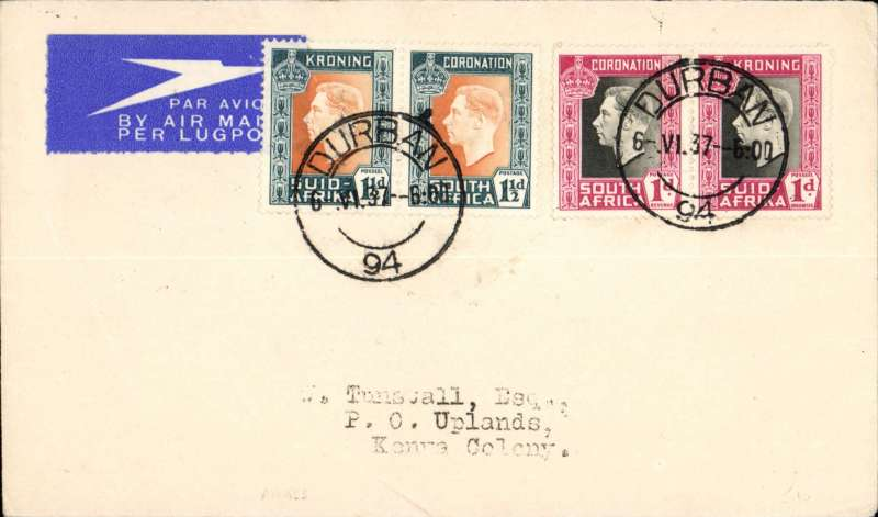 (Flying Boats) Imperial Airways, by Courtier all the way, first northbound all flying boat service AN 453, Durban to Uplands, Kenya, bs 9/6, etiquette cover franked 5d.
