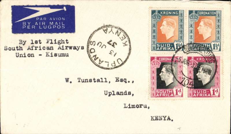 (Flying Boats) Imperial Airways, by Courtier all the way, first northbound all flying boat service AN 453, Durban to Uplands Limoru, Kenya, 9/6 arrival ds on front, etiquette cover franked 5d.