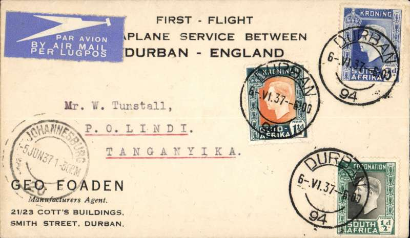 (Flying Boats) Imperial Airways, by Courtier all the way, first northbound all flying boat service AN 453, (Jo'burg) -Durban to Lindi, Tanganyika,  bs 11/6, printed souvenir cover franked 5d.