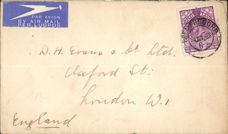 (Swaziland) Scarce, Swaziland to London, by Courtier all the way, first northbound all flying boat service AN 453, via Durban etiquette cover franked 5d canc Bremersdorf (Swaziland) cds..
