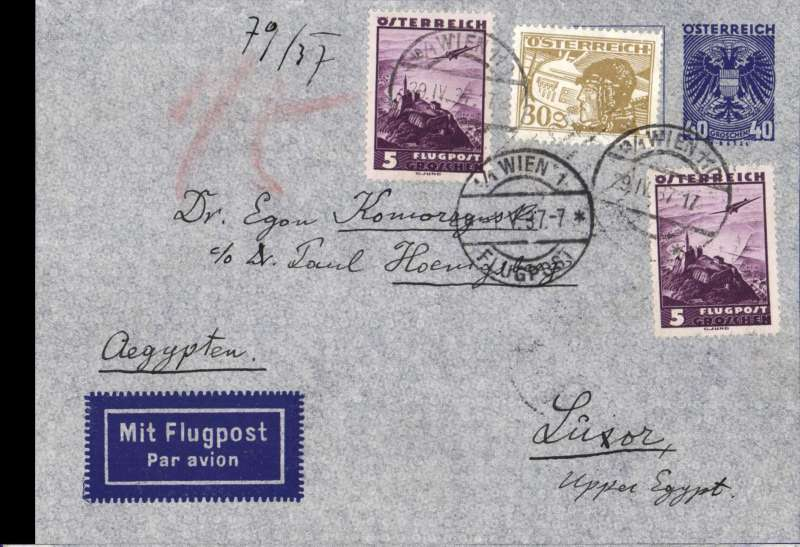 (Scarce and Unusual Routings) Austria to Egypt, VIENNA to ALEXANDRIA, bs 2/5. By DLH to Athens where transferred to Imperial Airways Africa FIRST ACCELERATED southbound service AS 444 on flying boat Cassiopeia arriving Alexandria 2/5. Attractive pale blue PSE with dark blue border all round (not picked up in scan), franked 80G1K 16 ore. See Movements of Aircraft on Imperial Airways African Route 1931-1939, P Wingent, pub 1991. .Difficult to find.
