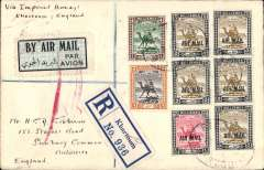 (Sudan) FIRST SERVICE TO FLY THE CAIRO to ALEXANDRIA LINK, Khartoum to England, on the IAW NORTHBOUND service AN 101. Carried over the link by C.Glasgow, by Satyrus to Athens, and to London by Horatius, bs Sunbury 20/2, Registered (label) cover franked 40ml Air Mail opt's, canc oval registered 13 Feb 33 Khartoum ds. See Movements of Aircraft on Imperial Airways African Route 1931-1939, P Wingent, pub 1991. A great item for the exhibit.