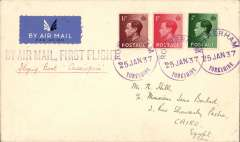 (GB External) LONDON to CAIRO, bs 29/1, first experimental light with African mail from Southampton to Alexandria AND maiden service flight by 'Cassiopeia', carried on IAW Africa southbound service  AS 417 all the way by Cassiopeia. See Movements of Aircraft on Imperial Airways African Route 1931-1939, P Wingent, pub 1991. SCARCE, a great item for the exhibit.