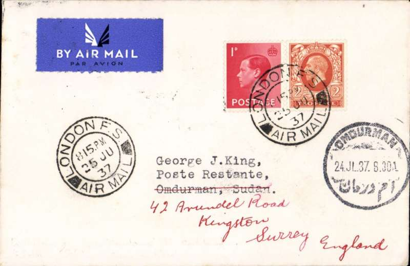 (GB External) LONDON to OBDURMAN, bs 24/7, via Khartoum bs 23/7, lat surcharged mail from GB before EAMS, flown on first southbound African service AS 460, carried all the way by 'Coriolanus', airmail etiquette cover franked 3d
