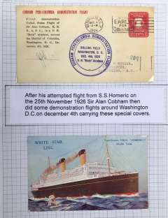 (United States Internal) Cobham First United States Overland Flight, Philadelphia cover, blue circular cachet, b/s Washington 3/12, official cover, INITIALLED BY SIR ALAN COBHAM PILOT, mounted on album leaf with PPC of RMS 'Homeric