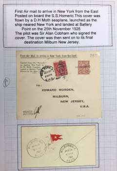 """(Ship to Shore) Sir Alan Cobham demonstration flight from SS Homeric at sea to Battery Point, New York City, flown and IINITIALLED BY SIR ALAN COBHAM, printed souvenir cover bears cachet """"First Air Mail to arrive in New York from the East"""". Illustrated p 1545 AAMC. Scarce item in fine condition, mounted on album leaf, see scan.."""