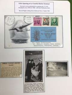 (United States) FIRST TRANSATLANTIC FLIGHT from La Guardia Marine Terminal, USA to Europe, souvenir grey/white cover with artist impression of the 'Yankee Clipper' in flight, addressed to J.Wotherspoon, Scotland, franked 6c, canc NY AMF Mar 31 39 in error for 1940, large blue/black 'Trans Atlantic Dedication vignette. Also a record flight, with press cutting and picture of NY PM handing the first bag of mail to leave La Guardia to Capt. Lorber. Scarce item, mounted on album leaf, and in fine condition.