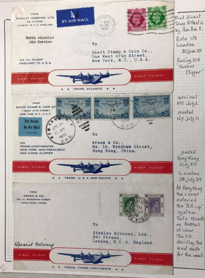 (GB External) First acceptance for an England to England 'Round The World' flight for carriage on the F/F of the Inaugural Pan Am FAM18 Northern trans Atlantic flight posted Southampton 29/6 to New York, then posted New York 11/7 to Hong Kong by US internal air service to San Francisco and Pan Am FAM14 China Clipper to Hong Kong ,then posted Victoria/Hong Kong 20/7 to England by Imperial Airways on the Empire 'All Up' scheme to London. Souvenir folding envelope, four printed fronts and four backs, franked GB 1/3d on front 1, US 75c on front 2 and Hong Kong 15c on front 3. Front 4 is unaddressed.