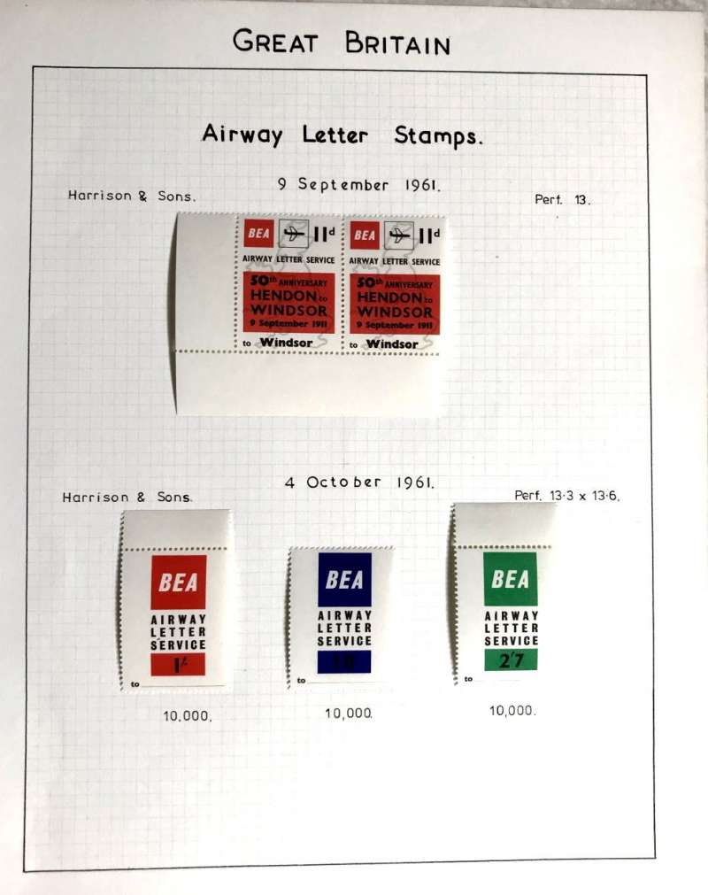 (Ephemera) BEA Airway letter stamps; 50th anniversary Hendon-Windsor 11d corner pair 9/9/61, and 1/-, 1/8d and 2/7d set of three, issued 4/10/61. Lightly mounted on album leaf.