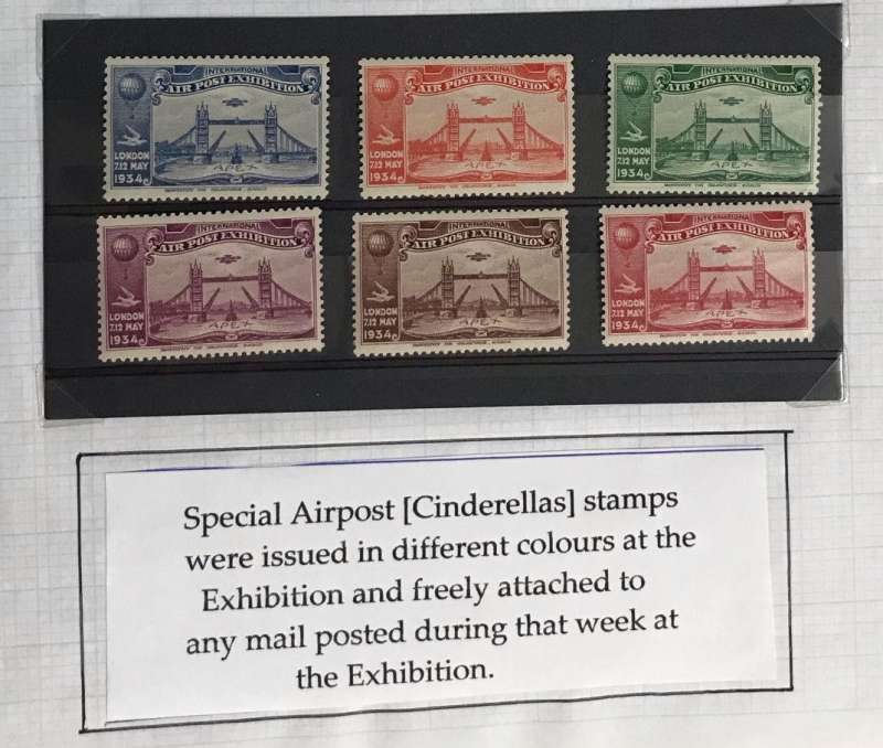 (Ephemera) Airpost Exhibition, 8/5/34, complete set of six vignettes in different colours, unmounted mint, very fine.