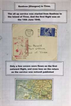 """(GB Internal) A truly RARE first BEA 'All Up' service, Renfrew Airport, Glasgow to the Isle of Tiree, the most westerly island in the Inner Hebrides of Scotland, plain cover franked 2 2/2d canc Glasgow 14 June 1948, large red """"BEA/First 'All Up' Mail/Renfrew-Tiree/14 June 1948 with map of the islands. Beith states""""little mail is known from the first day as the service was not well publicised"""". He reports having seen only ONE item of mail from this service. This was from this the outgoing flight , and it bore a red commemorative cachet (see Beith R, Scottish Air Mails 1919-1979, p22 and the illustration of the red cachet on the same page). Also a map, 10x5cm showing the route.  All mounted on album leaf."""