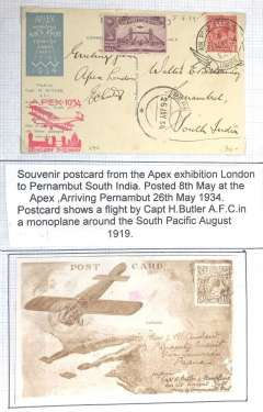 (GB External) London International Air Post Exhibition 1934, SOUVENIR POSTCARD TO PERNAMBUT, INDIA ,bs 26/5, depicting postcard flown in Australia by Capt. H Butler, postmarked 8th May 1934 special Expo cancellation, red Apex cachet..