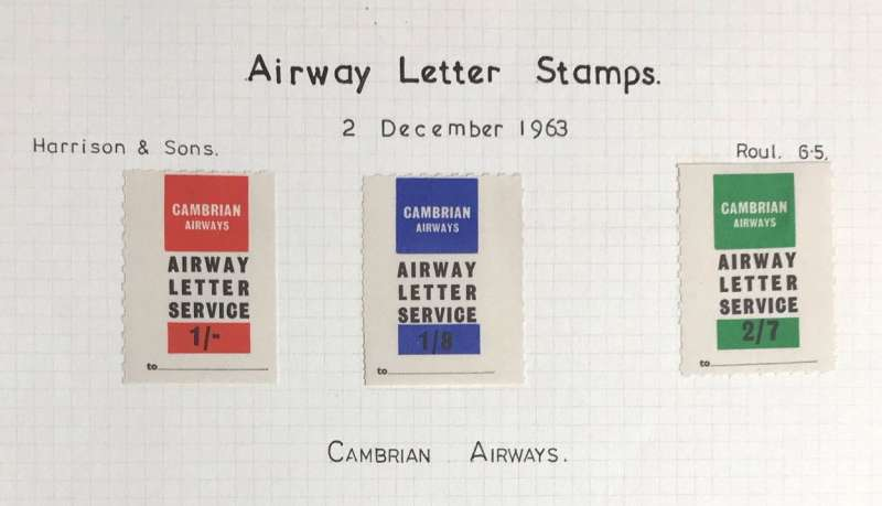 (Ephemera) Cambrian Airways stamps, 2/12/63 set of three 1/-,1/8d, 2/7d, fine mounted mint