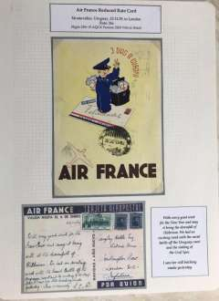 """(Ephemera) Air France 1939/40 promotional festive season yellow/blue/black ppc showing picture of postman standing on an Air France airmail envelope with legend """"Felicidades"""" and """"3 Dias a Europa"""", and verso """"Air France/(Tarjeta Aeropostale)/Valida Hasta El 6 De Enero De (1940)"""", MONTEVIDEO to LONDON, carried in Farman 2200 Ville de Ntal on flight #229r, franked 24c, Santiago cancellation, posted 28/12/39""""."""
