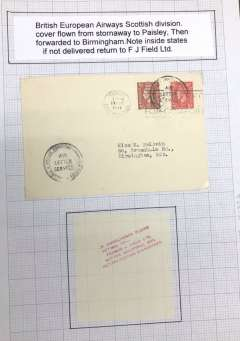 """(GB Internal) BEA Scottish Division, cover Paisley, Scotland to Birmingham, flown from Renfrew Airport, no arrival ds, franked 2 1/2d, tied by Paisley 14 Mar 1947 machine cancel, two new scarce black circular """"British European Airways/Air Letter Service/Scottish Division"""" cachets introduced on the absorption of Scottish airways into BEA. Note inside says if not delivered return to Francis Field Ltd.This is much scarcer than the earlier 'Scottish Airways/Airletter Service' cachet. See p9, Lister P."""