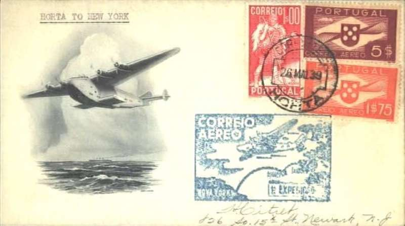 (Flying Boats) F/F FAM 18 Southern North Atlantic route, Horta-New York, bs 27/5, blue cachet, b/s, uncommon cream/grey black souvenir cover with attractive picture of flying boat in flight, Pan Am.