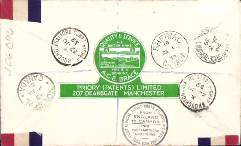 (GB External) Pan Am 'Yankee Cipper' F/F England to Canada, bs Shediac 1/7, Montreal 2/7, elegant uncommon registered (label) souvenir 'Long May They Reign' cover triple 'THREE REIGN' franking inc KGV 10d, KGVI 2 1/2d and KEVIII set of 4, An unusual and attractive item.