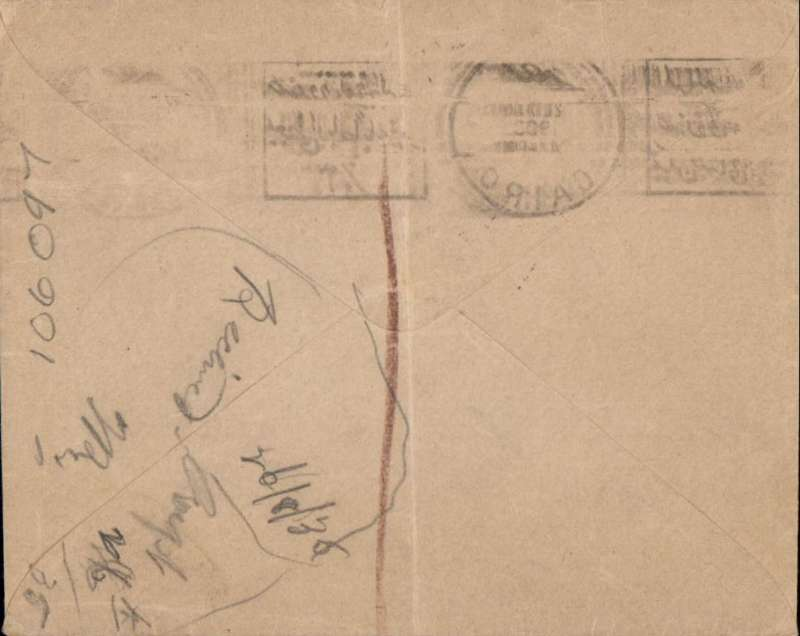 (Egypt) Egypt to GB, official O.H.M.S. cover, posted Cairo ?25 May 1935 to Leicester, unfranked on dispatch presumably assuming no postage required, GB 3 1/2d postage due stamps applied on arrival and cancelled Leicester 26 Aug 35  cds, large black '3 1/2d/I.S.M'. hand stamp. Also bilingual Egypt airmail etiquette tied by Cairo cds confirming intention to send by air. Uncommon and interesting. Ironed vertical crease.