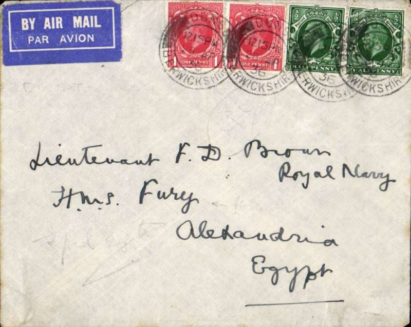 (GB External) Airmail to ship, Dunston to H.M.S FURY, Alexandria, bs Alexandria Avion 2/5, and 'Military Post Office/2 MA 36/Alexandria' cds. HMS Fury was attached o the Mediterranean Fleet 1935/36 during the Abyssinia War crisis. Inter4sting.