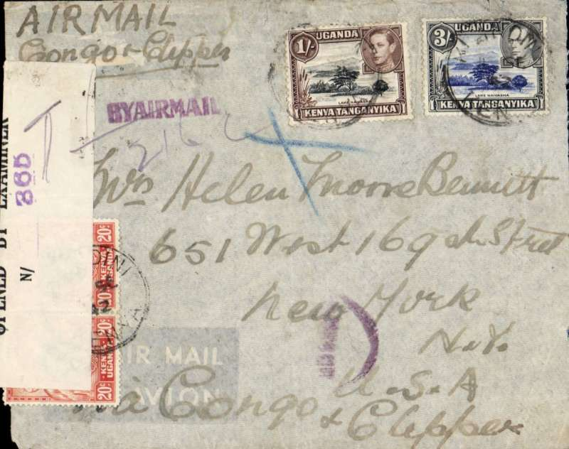 (Kenya) Kenya to USA, MOMBASA to NEW YORK, via Lagos 12/9, censored WWII airmail cover sealed B&W OBE N/365 censor tape. Franked 4sh 40c, posted ?1Sep 42, ms 'Air Mail/Congo & Clipper' and 'Via Congo & Clipper, violet 'By Airmail' hs, and unknown partial violet circular hs.Carried on the trans-Africa service by BOAC to Lagos via Khartoum, on to Leopoldville, and OAT by Pan Am FAM 22 to Miami then US internal air service to New York.