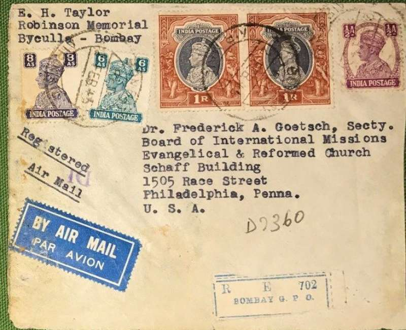 (India) WWII censored registered (label) airmail cover, BOMBAY to PHILADELPHIA, bs 16/3, via Miami 14/3, sealed India censor tape (removed) was tied by India hexagonal DHC (Bombay) censor mark. Franked 2R 14 1/2 annas (2R 11 1/2 total air mail rate + 3 annas registration, Flown BOAC to Lisbon via Cairo and Gibraltar, then Pan Am FAM 18 to New York.