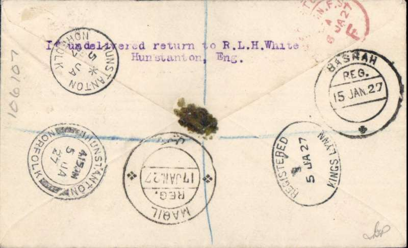 (Alex Newall personal collection) Opening of Cairo-Baghdad-Basra service, Imperial Airways first flight, London-Cairo-Baghdad-Basra, bs 15/1, registered cover franked 8 1/d (overseas rate 2 1/2d+air to Iraq 3d+ reg 3d). IAW open a regular service with a DH66 Heracles. Reference # 27.03a,  Alexander Newall, 'British External Airmails Until 1934', 2nd edition 1996.
