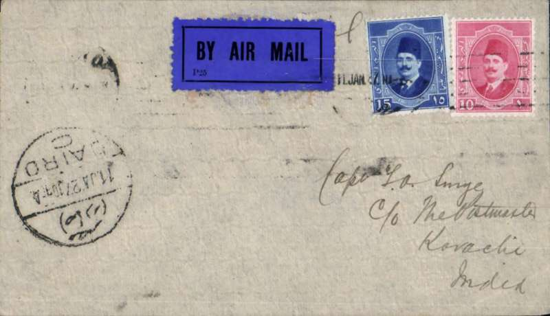 (Alex Newall personal collection) Opening of Cairo-Baghdad-Basra service, Imperial Airways first flight, Cairo-Baghdad-Basra-Karaci, bs 20/1, airmail etiquette cover franked 25ml (rate to UK 10ml + air to Iraq 10ml + surcharge to India 3ml). IAW first company flight.. Reference # 27.03b,  Alexander Newall, 'British External Airmails Until 1934', 2nd edition 1996.