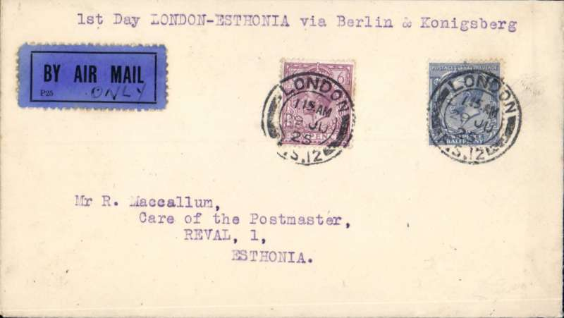 (Alex Newall personal collection) Imperial Airways - Junkers LV - Derluft, first day of service LONDON to REVAL (TALLIN) ESTONIA, BS 3.7.25, London - (rail to Berlin) - Konigsberg - Memel - Kaunas - Riga - Tallin - Helesinki - Smolensk - Moscow. Airmail etiquette cover franked 8 1/2d (overseas rate 2 1/2d + air fee for East Baltic 6d). Reference # 25.10d,  Alexander Newall, 'British External Airmails Until 1934', 2nd edition 1996.