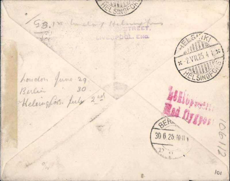 (Alex Newall personal collection ) Imperial Airways - Junkers LV - Derluft, first day of service LONDON to HELSINKI (HELSINGFORS), bs 2.VII.25, via Berlin 30.6.25., London - (rail to Berlin) - Konigsberg - Memel - Kaunas - Riga - Tallin - Helesinki - Smolensk - Moscow.  Airmail etiquette cover franked 8 1/2d (overseas rate 2 1/2d + air fee for East Baltic 6d). Reference # 25.10e,  Alexander Newall, 'British External Airmails Until 1934', 2nd edition 1996.
